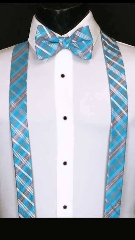 Plaid suspenders in malibu, navy and white with matching bow tie