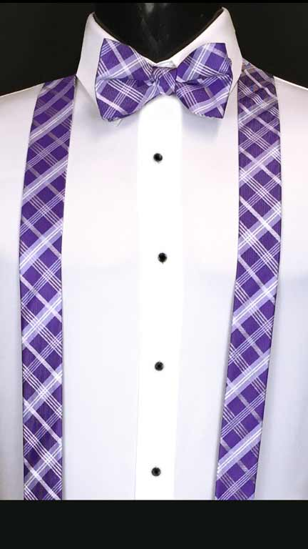 Plaid suspenders in Purple, lilac and white with matching bow tie