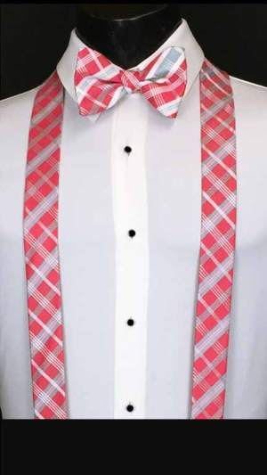 Plaid suspenders in watermelon, grey, and pink with matching bow tie