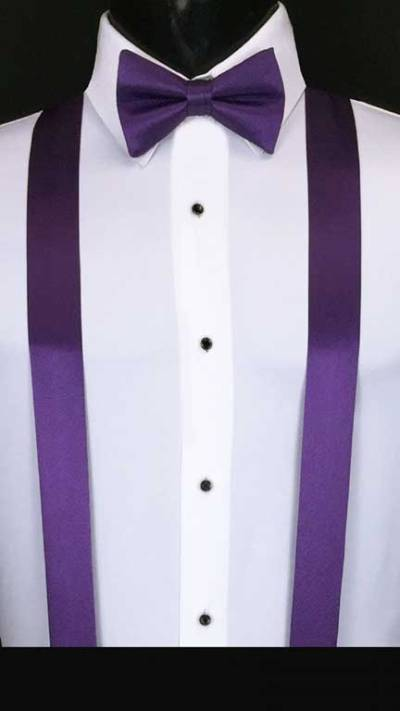 Purple simply solid suspenders with matching bow tie