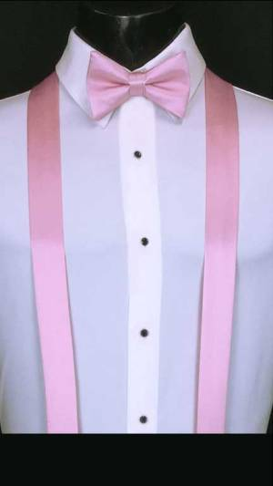 Tea Rose simply solid suspenders with matching bow tie