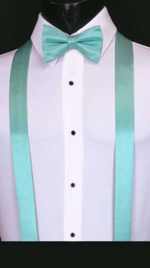 Tiffany Blue simply solid suspenders with matching bow tie