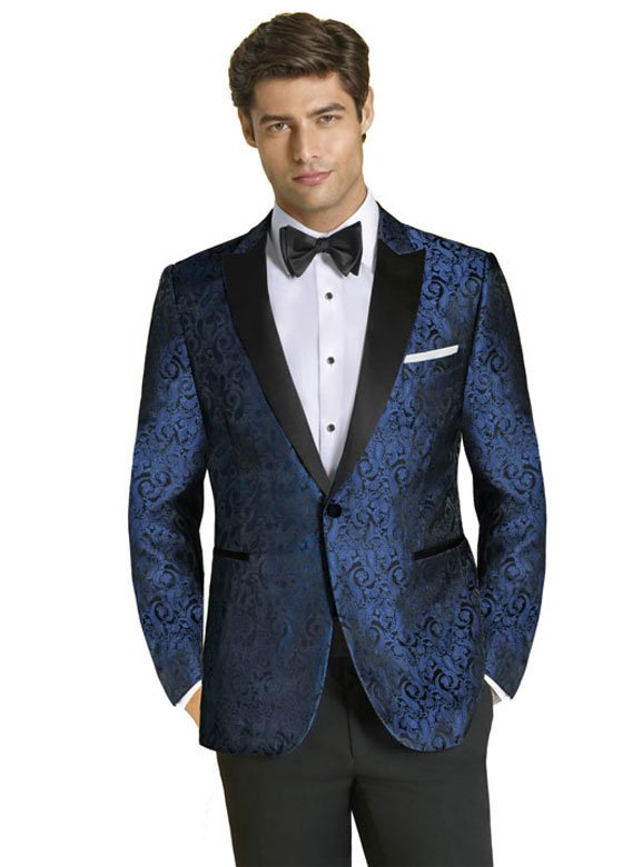 Blue Paisley Tuxedo with black satin peak lapel