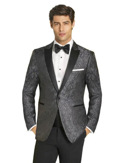 The Chase Charcoal Paisley Tuxedo by Couture 1910