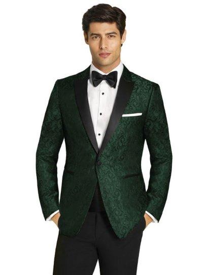 Green Paisley Tuxedo with black satin peak lapel
