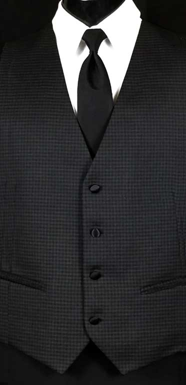 Black and Grey check vest with black Windsor tie