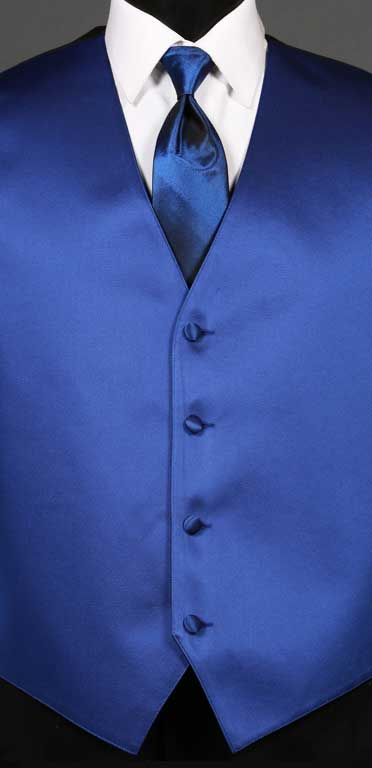 Royal Blue simply solid vest with Royal Blue Ombre Windsor tie