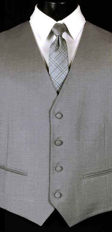 Stone Grey Brooklyn Vest Stone Grey Plaid Windsor Tie