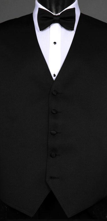 Black wool vest with black bow tie