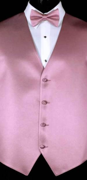 Dusty Rose Simply Solid Vest with matching bow tie