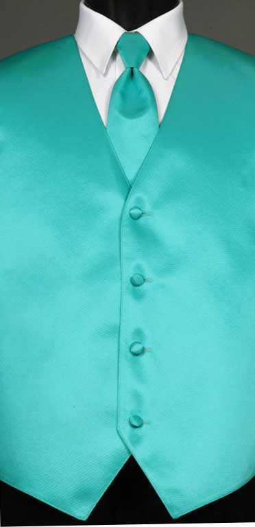 Mermaid simply solid vest with matching Windsor tie