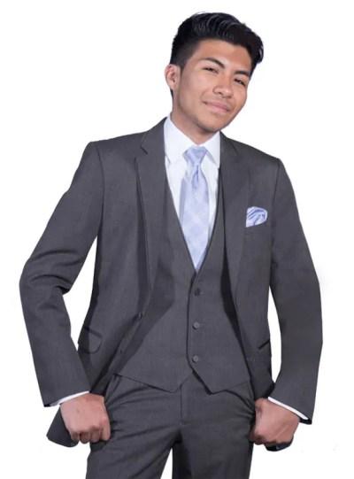 Charcoal Grey Bartlett Suit by Allure Men