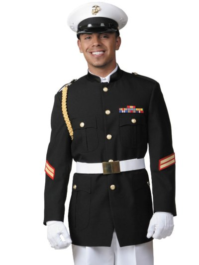 Black Cadet Tuxedo with white hat and trousers for a Quinceanera