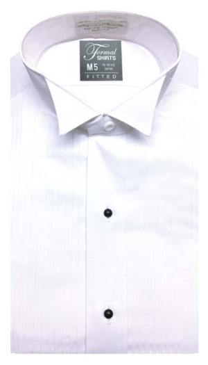 White pleated wing collar tuxedo shirt in a slim fit style