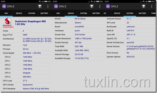 CPU-Z Xiaomi Mi 4c 32GB