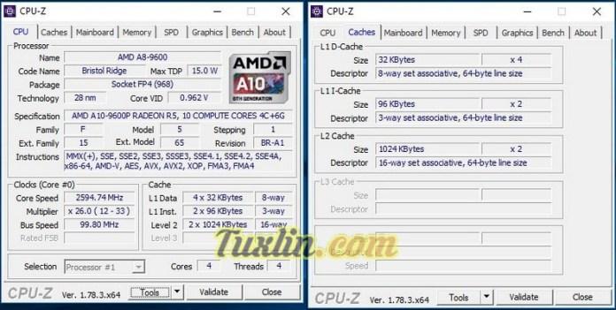 CPU-Z Asus X555QG BX101D