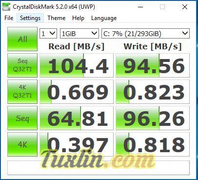 Benchmark CrystalDiskMark Asus X555QG BX101D