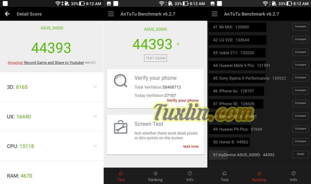 Benchmark AnTuTu v6 Asus Zenfone 4 Max Pro ZC554KL