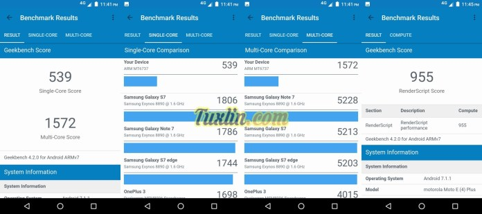 Benchmark Geekbench 4 Motorola Moto E4 Plus