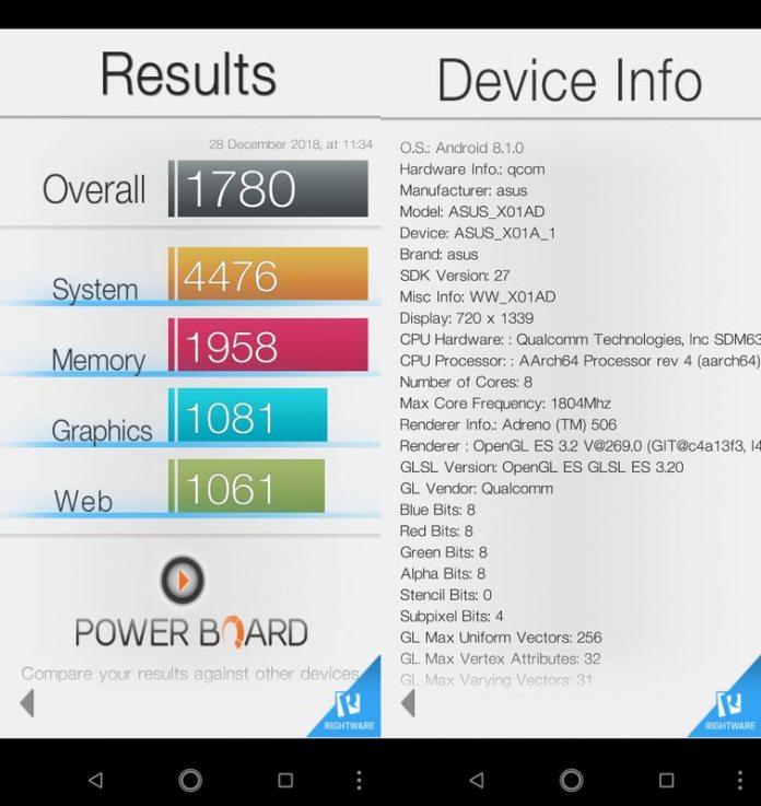 Benchmark Basemark OS II Asus Zenfone Max M2