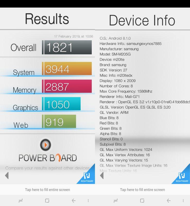 Benchmark Basemark OS II Samsung Galaxy M20