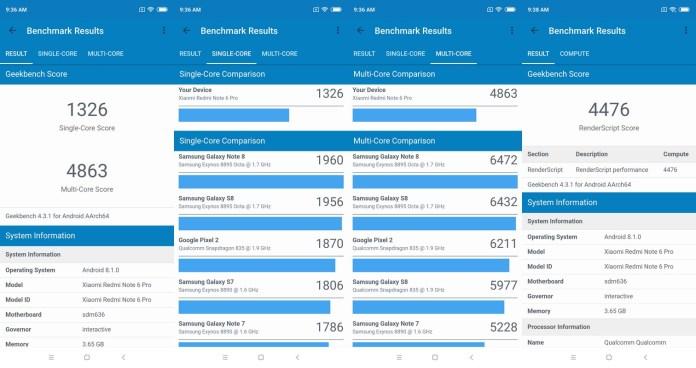 Benchmark Geekbench 4 Xiaomi Redmi Note 6 Pro