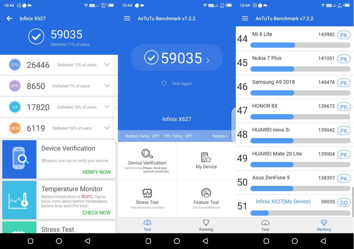 Benchmark AnTuTu v7 Infinix Smart 3 Plus