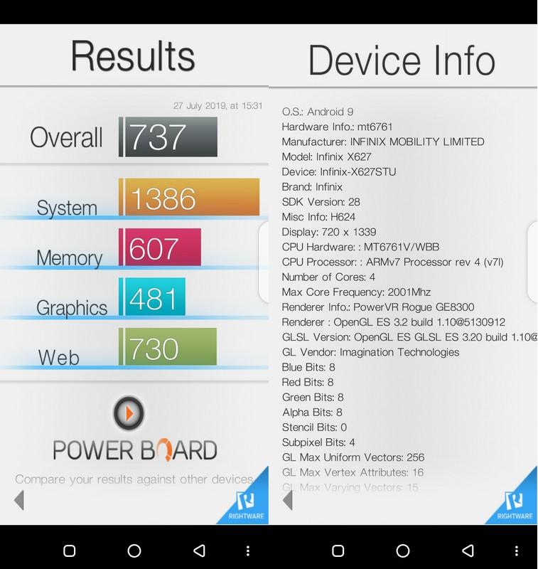 Benchmark Basemark OS II Infinix Smart 3 Plus