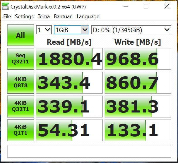 Benchmark CrystalDiskMark Asus Vivobook Ultra A412FA EK303T