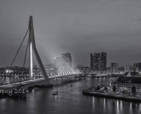 Rotterdam skyline foto - Erasmusbrug by Night | Tux Photography
