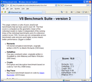 V8 Benchmark-Internet Explorer 7