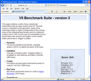 V8 Benchmark-Internet Explorer 8