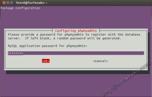 phpMyAdmin MySQL application password
