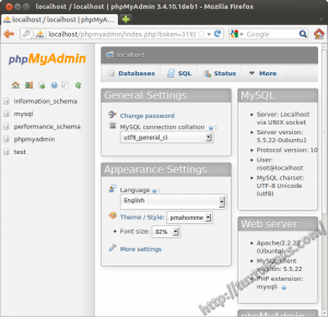 phpMyAdmin logged in