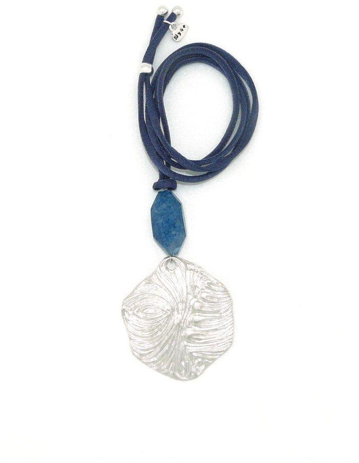 Collar ola plateada azul
