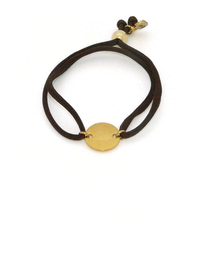 Pulsera círculo dos agujeros latón bañado en oro