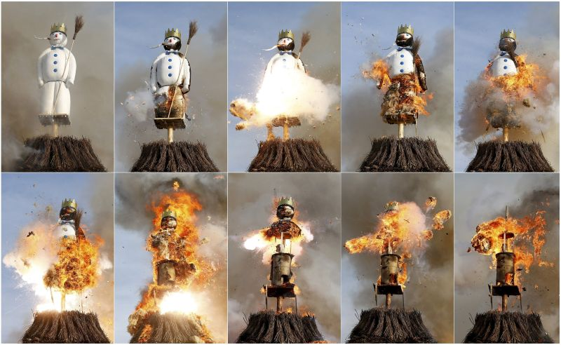 """A combination of pictures shows the Boeoegg, a snowman made of wadding and filled with firecrackers, burning atop a bonfire in the Sechselaeuten square in Zurich April 13, 2015. As the bells of St. Peter's church chime six o'clock, the bonfire below the """"Boeoegg"""" is set alight and mounted guildsmen gallop around the pyre to the tune of the Sechselaeuten March. The faster the head of the """"Boeoegg"""", the symbol of winter, catches fire and explodes, the warmer and more beautiful the summer will be. REUTERS/Arnd Wiegmann      TPX IMAGES OF THE DAY"""