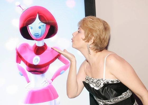 Narjara Turetta posa na festa de lançamento de Morde & Assopra (abril/2011)
