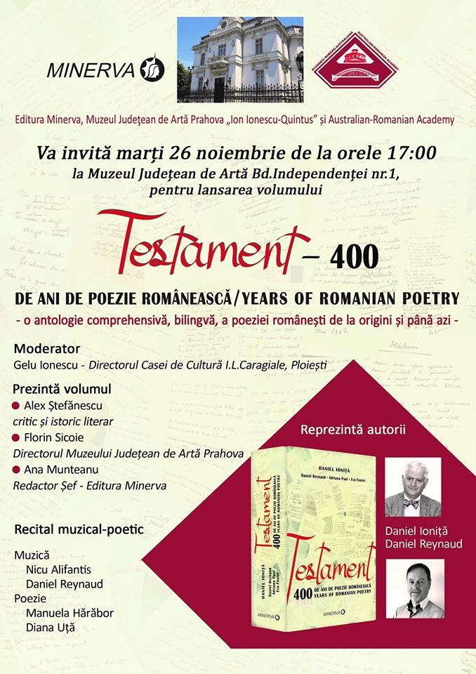 Ploiești – Lansare Testament 400 de ani de poezie românească, găzduit de Daniel Ioniță și Soiu Duia, Nov 26, 2019