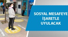ATM'lerin önlerinde işaretleme çalışmaları sürüyor