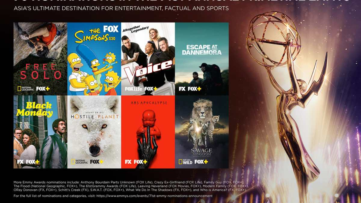 70 Nominations in the 71st Annual Primetime Emmys on FOX, FOX Life, FOX Movies and National Geographic