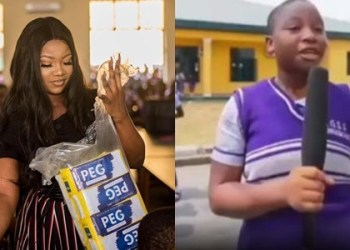 What this school girl said after Tacha visited her school (Video)