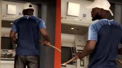 Coronavirus: Watch as Man operates ATM with long stick