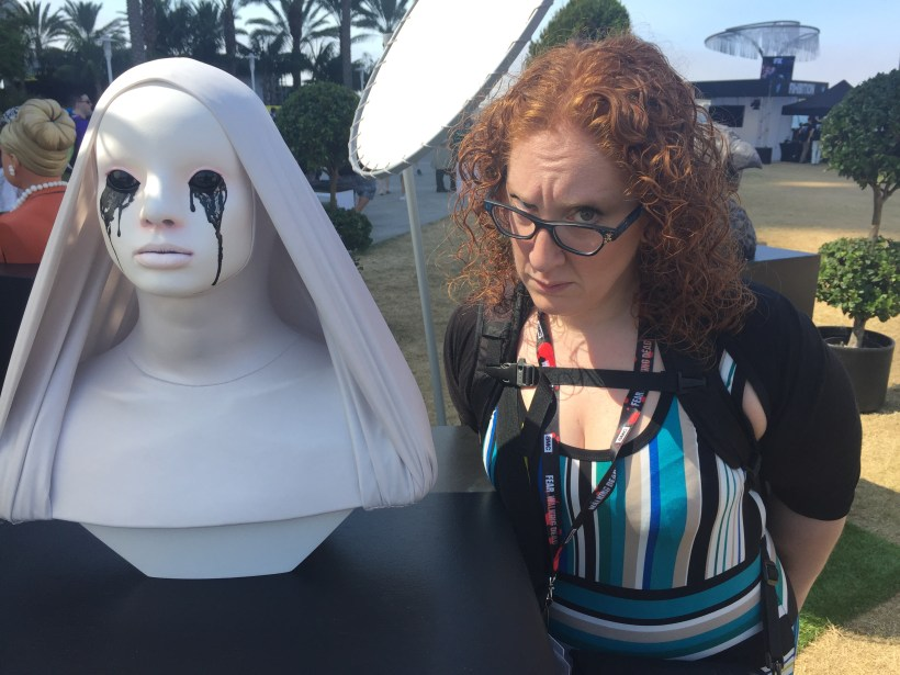 """Andrea has some fun with """"The White Nun"""" from American Horror Story at the FXhibition"""