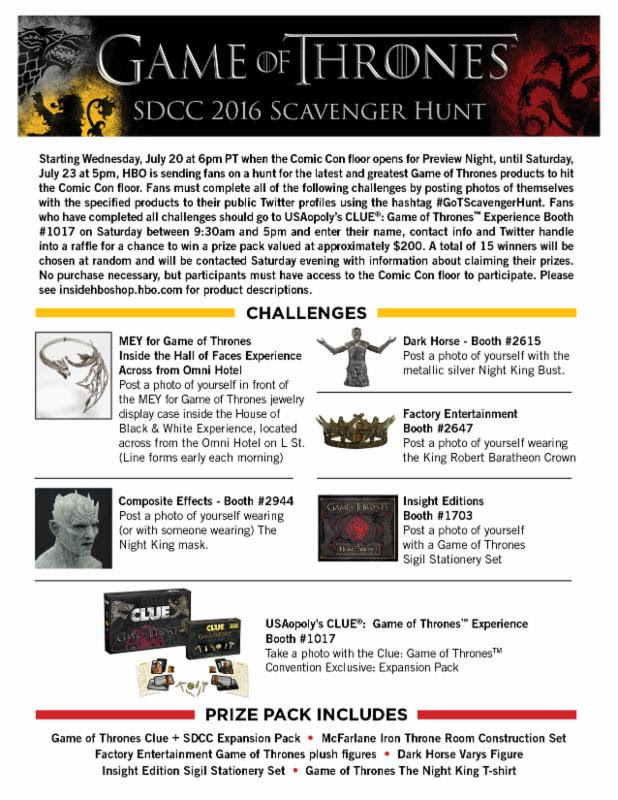 SDCC Game of Thrones Scavenger Hunt