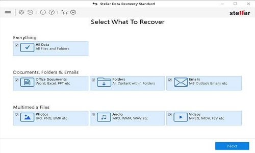 Select what to recovery