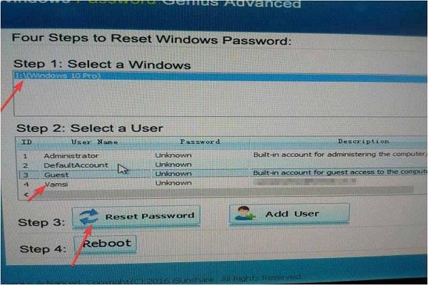 WinPassKey reset password
