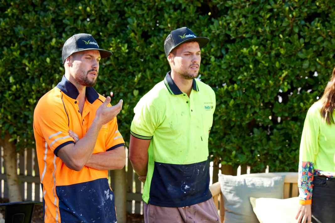 Luke & Josh stare down backyard week on THE BLOCK (image - Nine)