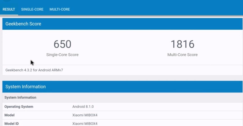 Geekbench 4 Xiaomi Mi Box S score