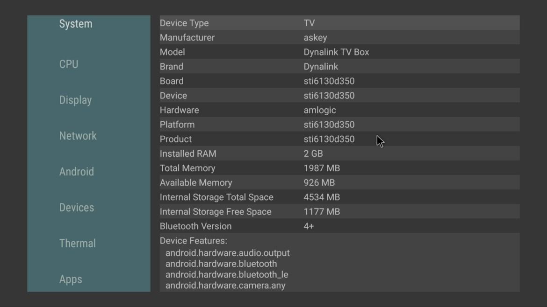 Dynalink TV Box System information
